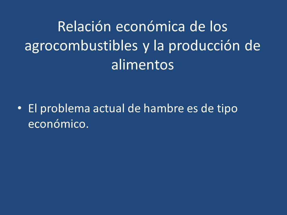 Relación económica de los agrocombustibles y la producción de alimentos