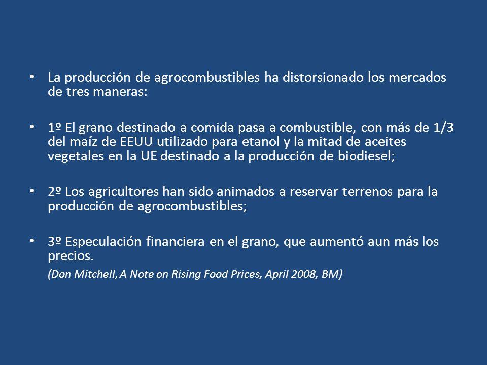 La producción de agrocombustibles ha distorsionado los mercados de tres maneras: