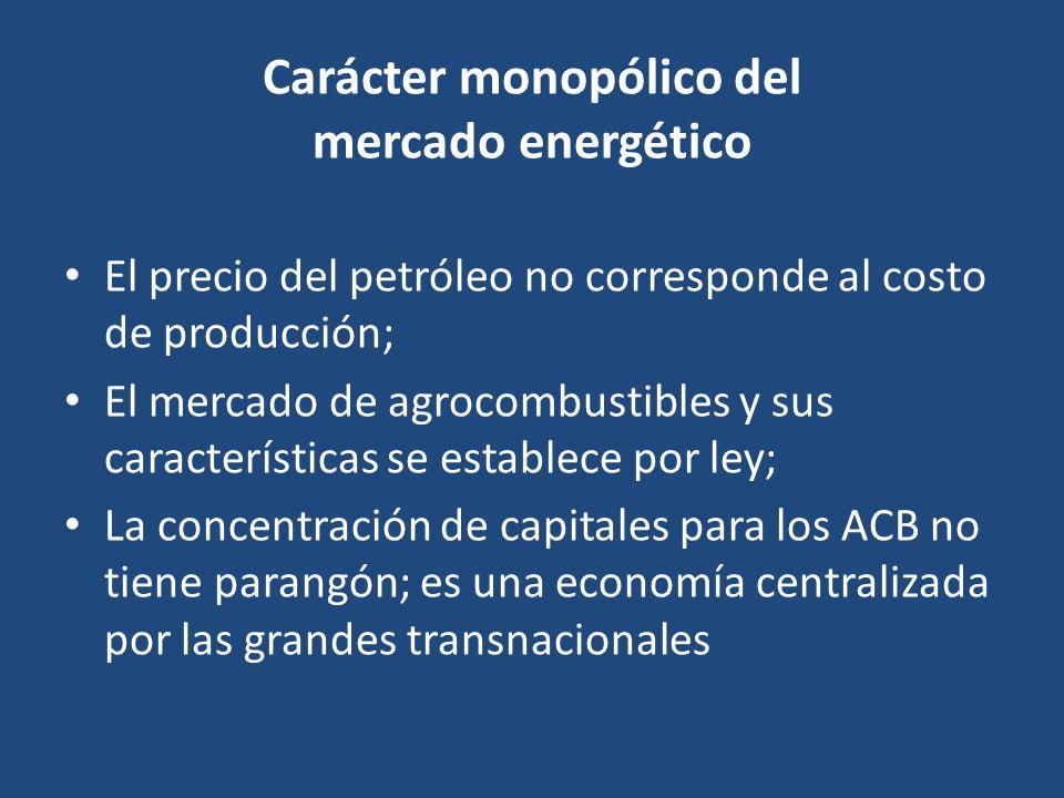 Carácter monopólico del mercado energético