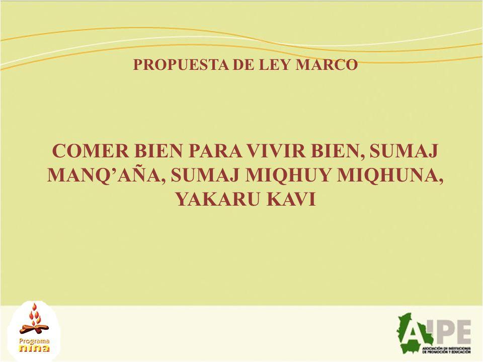 PROPUESTA DE LEY MARCO COMER BIEN PARA VIVIR BIEN, SUMAJ MANQ'AÑA, SUMAJ MIQHUY MIQHUNA, YAKARU KAVI.