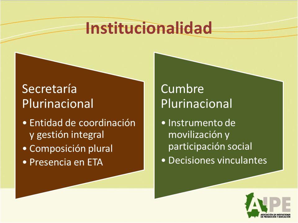 Institucionalidad Secretaría Plurinacional Cumbre Plurinacional