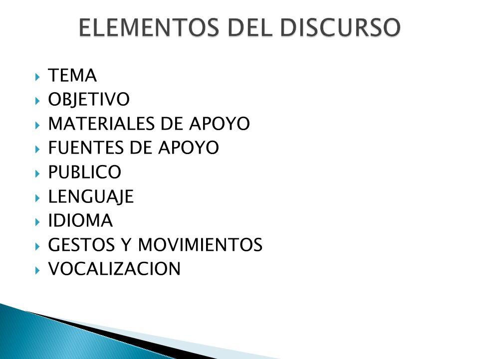 ELEMENTOS DEL DISCURSO