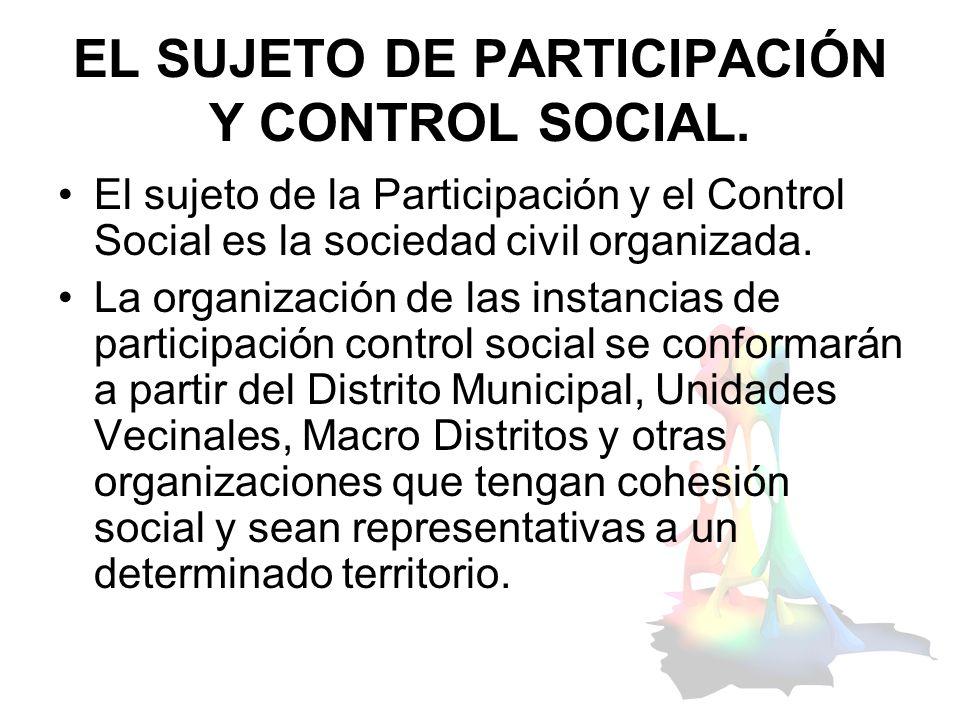 EL SUJETO DE PARTICIPACIÓN Y CONTROL SOCIAL.