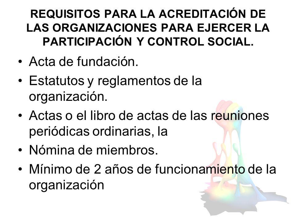 Estatutos y reglamentos de la organización.