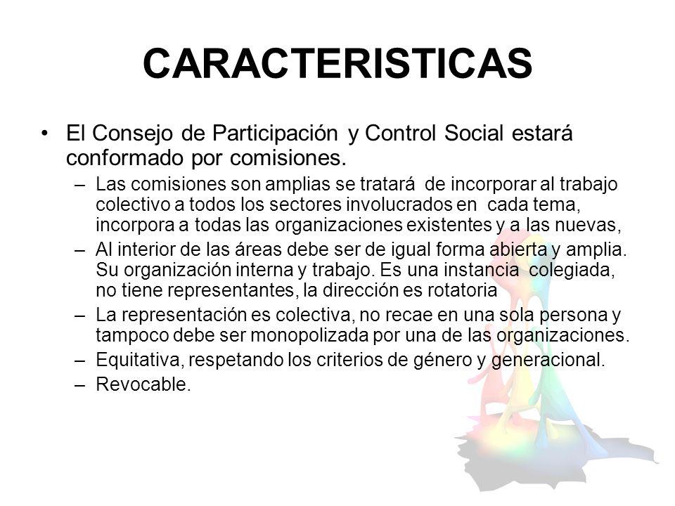 CARACTERISTICAS El Consejo de Participación y Control Social estará conformado por comisiones.
