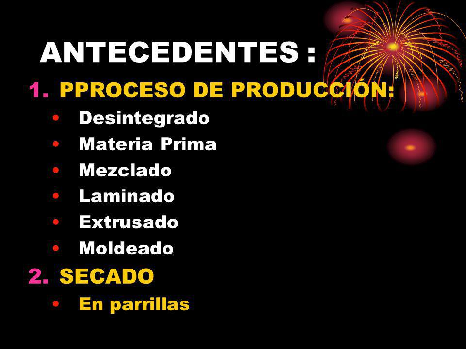 ANTECEDENTES : PPROCESO DE PRODUCCIÓN: SECADO Desintegrado