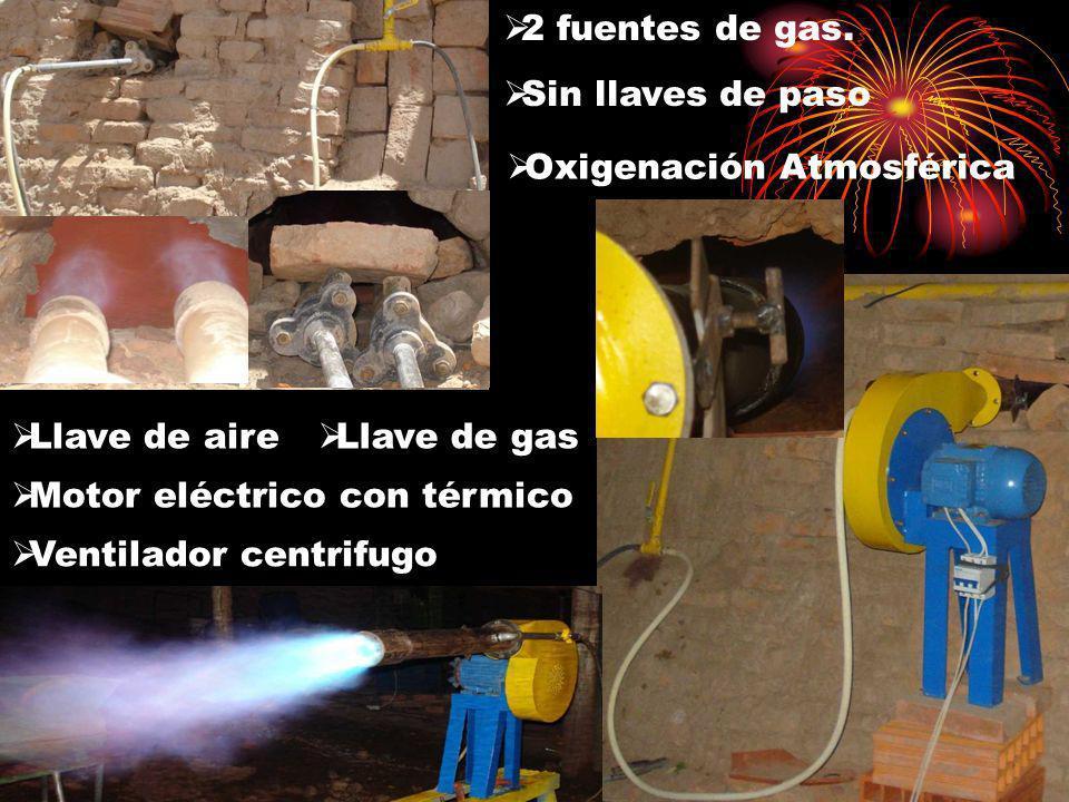 2 fuentes de gas. Sin llaves de paso. Oxigenación Atmosférica. Llave de aire. Llave de gas. Motor eléctrico con térmico.