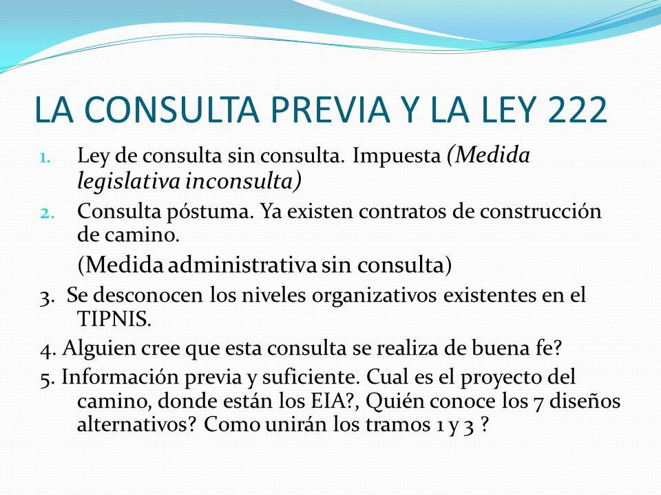 LA CONSULTA PREVIA Y LA LEY 222