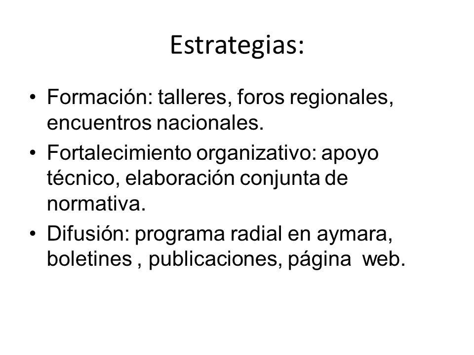Estrategias:Formación: talleres, foros regionales, encuentros nacionales.