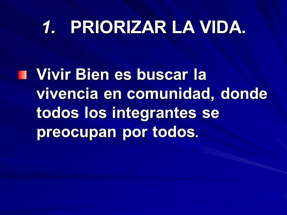 1. PRIORIZAR LA VIDA.