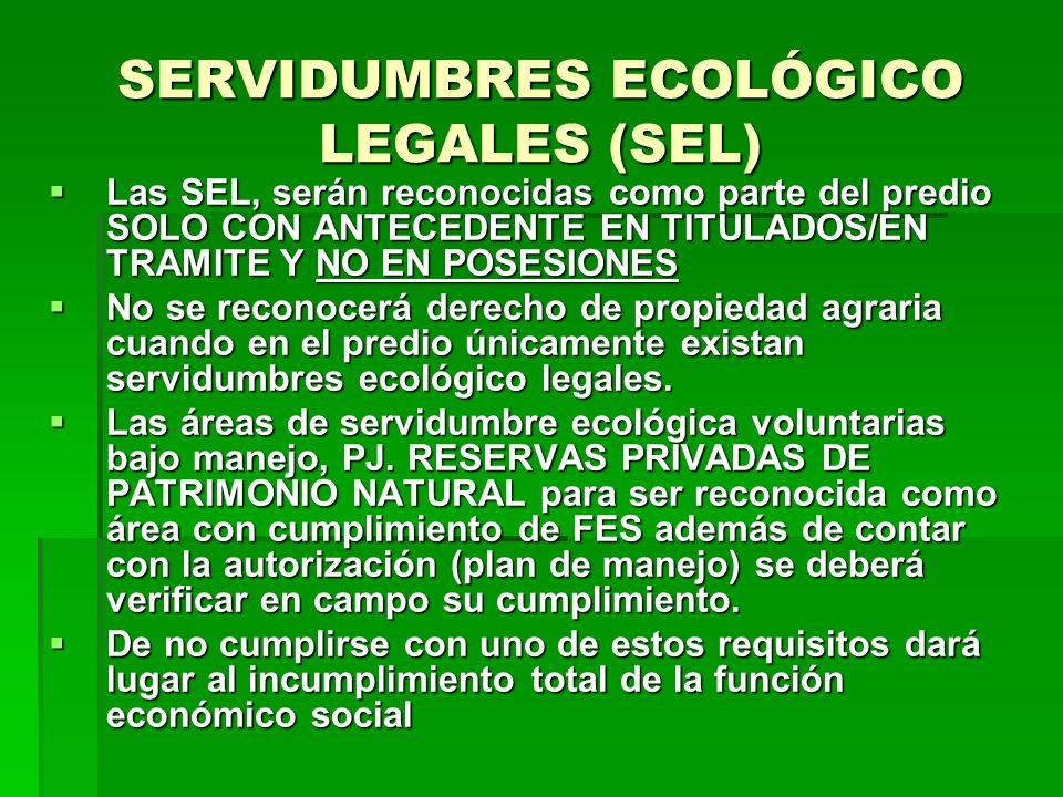 SERVIDUMBRES ECOLÓGICO LEGALES (SEL)