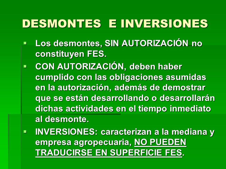 DESMONTES E INVERSIONES