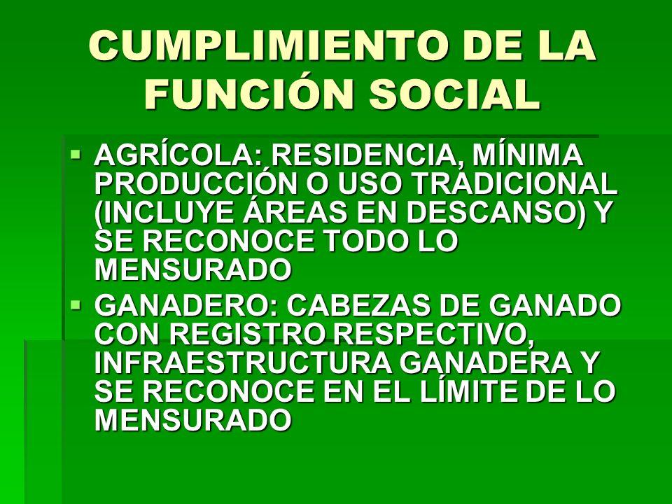 CUMPLIMIENTO DE LA FUNCIÓN SOCIAL
