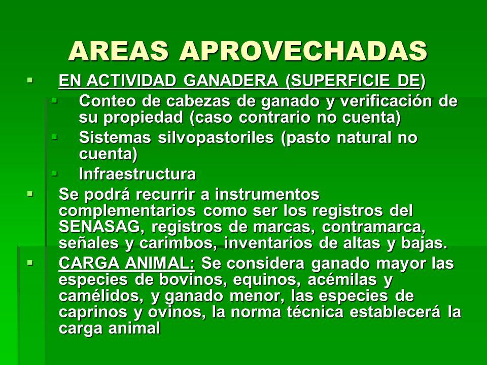 AREAS APROVECHADAS EN ACTIVIDAD GANADERA (SUPERFICIE DE)