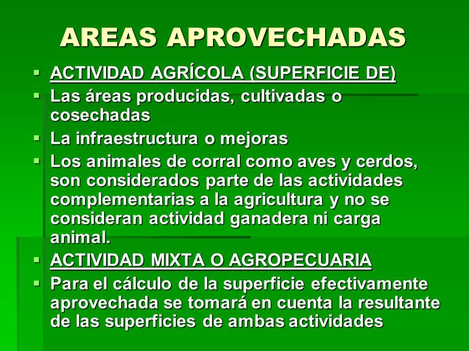 AREAS APROVECHADAS ACTIVIDAD AGRÍCOLA (SUPERFICIE DE)