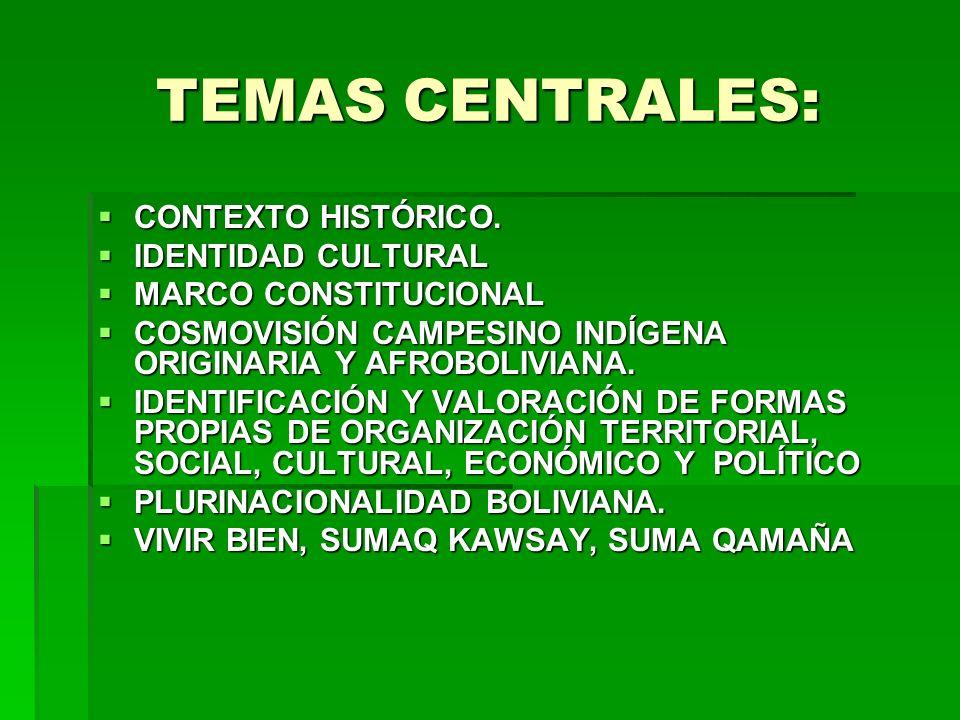 TEMAS CENTRALES: CONTEXTO HISTÓRICO. IDENTIDAD CULTURAL