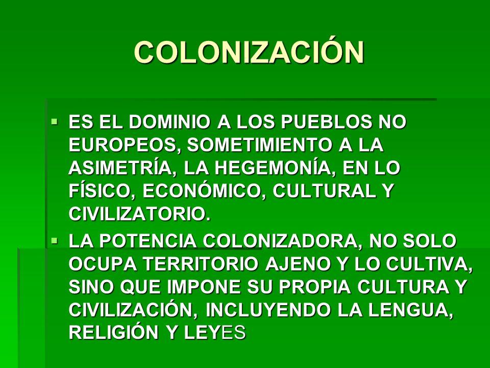 COLONIZACIÓN ES EL DOMINIO A LOS PUEBLOS NO EUROPEOS, SOMETIMIENTO A LA ASIMETRÍA, LA HEGEMONÍA, EN LO FÍSICO, ECONÓMICO, CULTURAL Y CIVILIZATORIO.