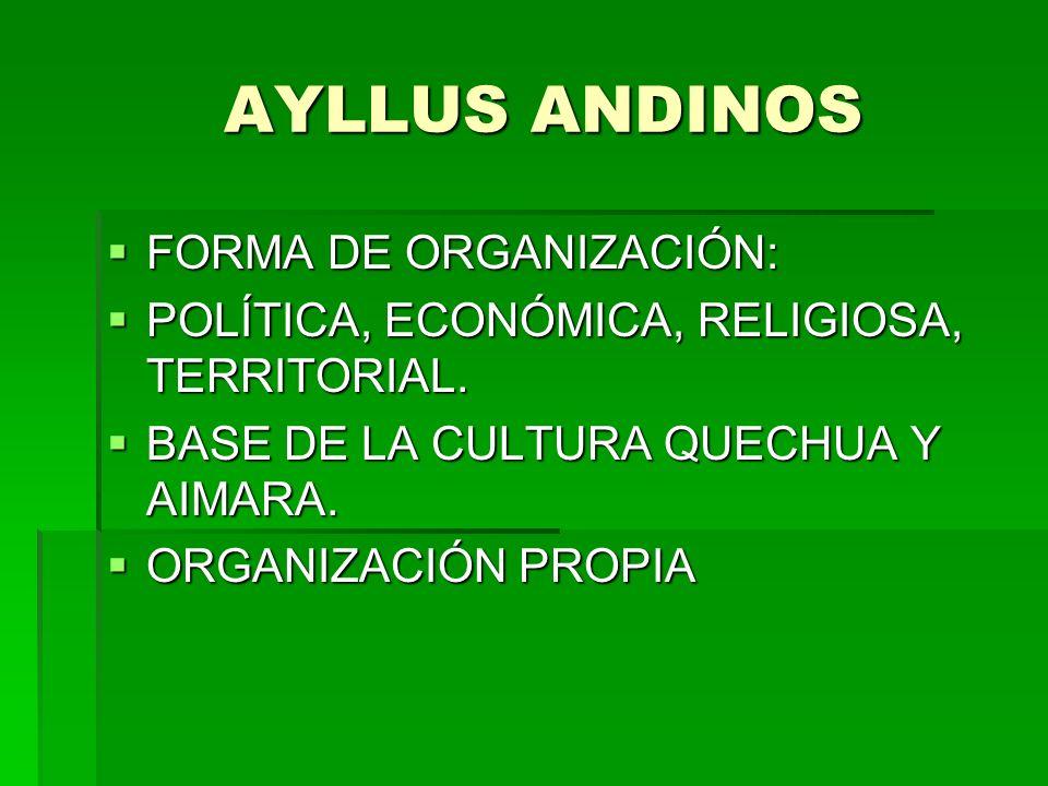 AYLLUS ANDINOS FORMA DE ORGANIZACIÓN: