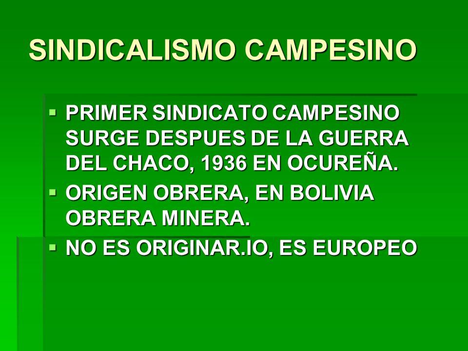 SINDICALISMO CAMPESINO
