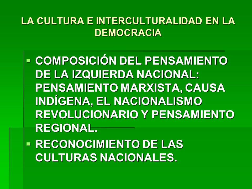 LA CULTURA E INTERCULTURALIDAD EN LA DEMOCRACIA