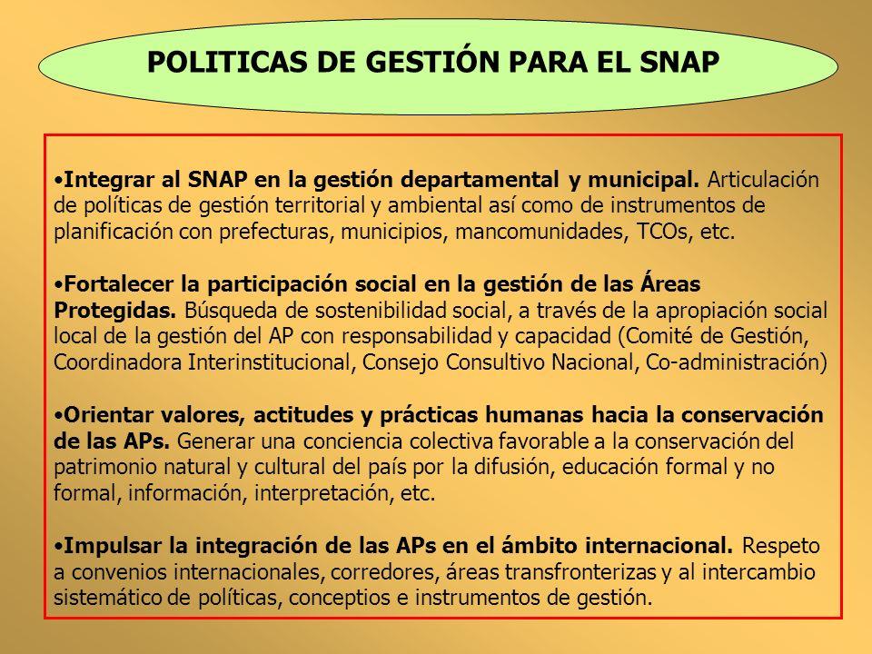POLITICAS DE GESTIÓN PARA EL SNAP