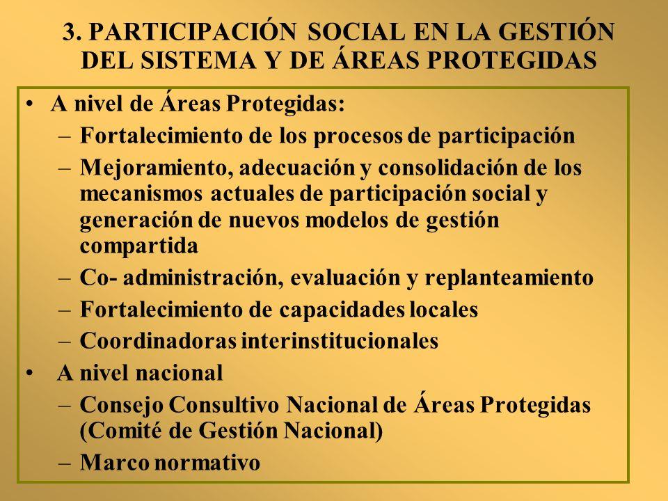 3. PARTICIPACIÓN SOCIAL EN LA GESTIÓN DEL SISTEMA Y DE ÁREAS PROTEGIDAS
