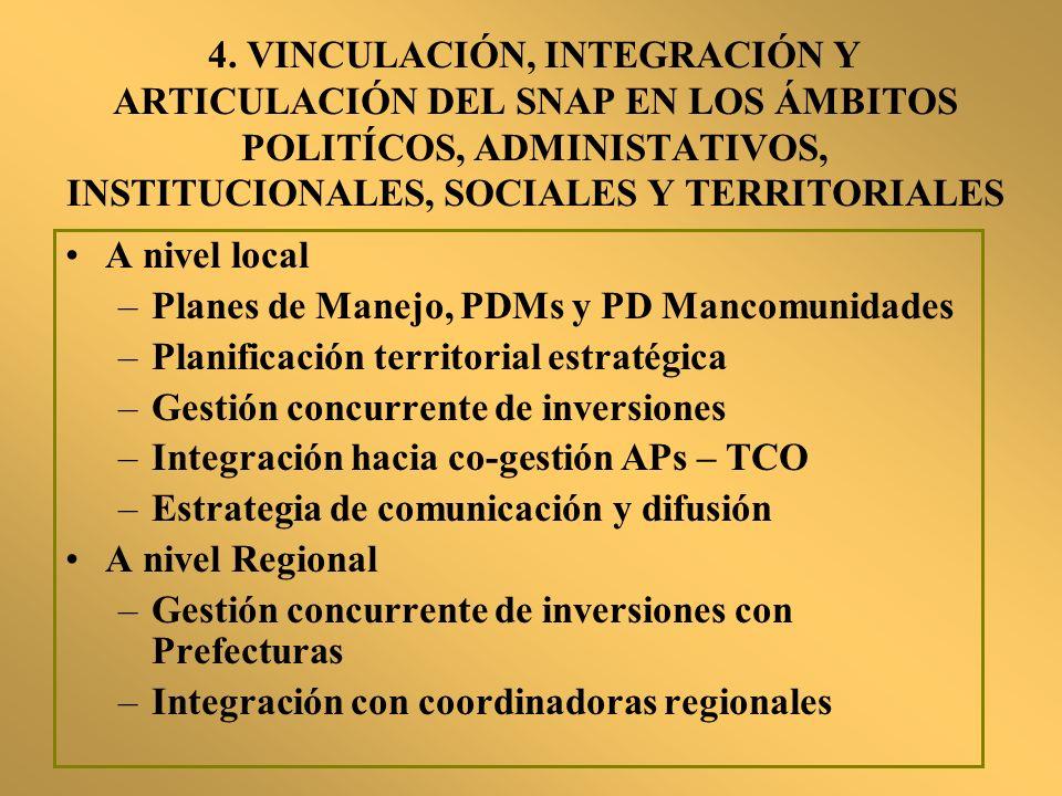 4. VINCULACIÓN, INTEGRACIÓN Y ARTICULACIÓN DEL SNAP EN LOS ÁMBITOS POLITÍCOS, ADMINISTATIVOS, INSTITUCIONALES, SOCIALES Y TERRITORIALES