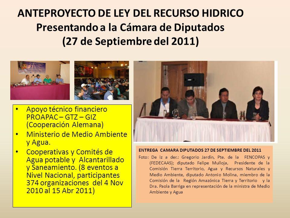 ANTEPROYECTO DE LEY DEL RECURSO HIDRICO Presentando a la Cámara de Diputados (27 de Septiembre del 2011)