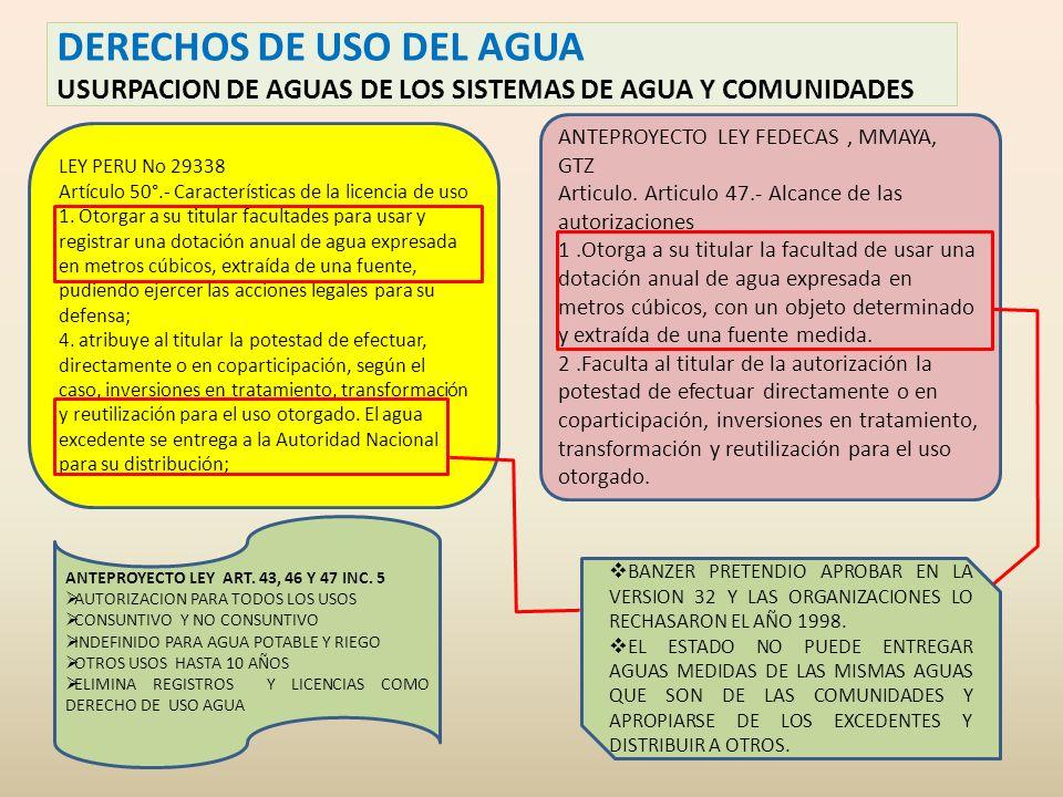 DERECHOS DE USO DEL AGUA USURPACION DE AGUAS DE LOS SISTEMAS DE AGUA Y COMUNIDADES