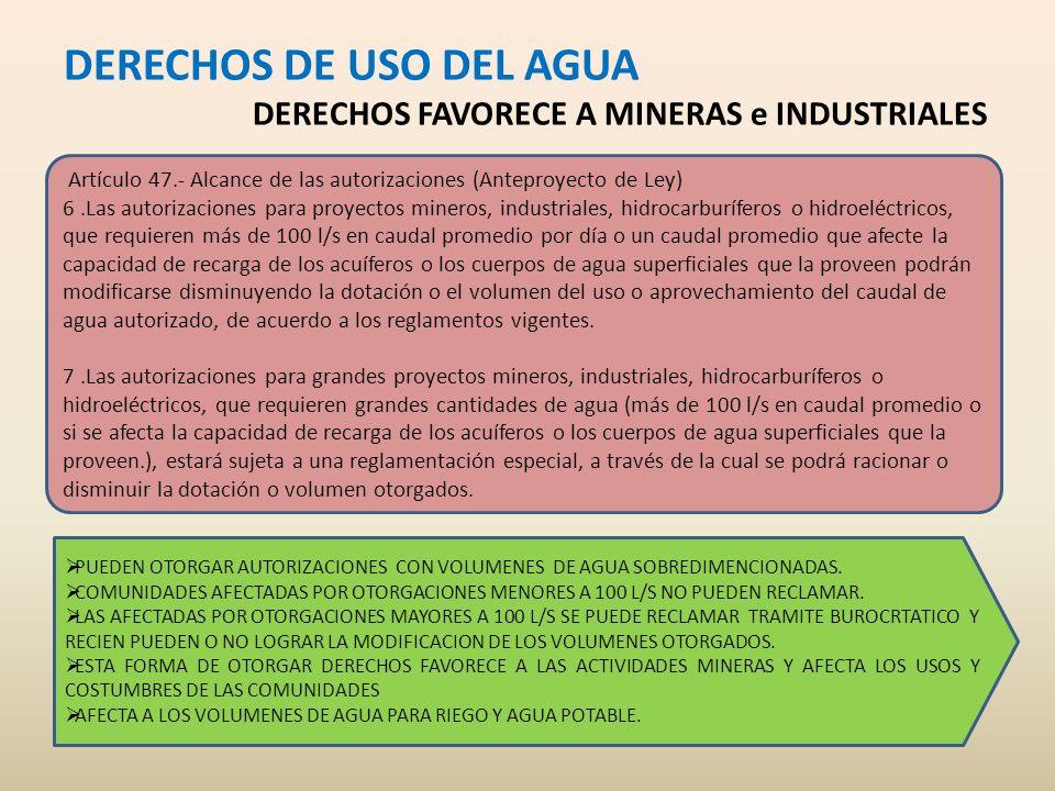 DERECHOS DE USO DEL AGUA DERECHOS FAVORECE A MINERAS e INDUSTRIALES
