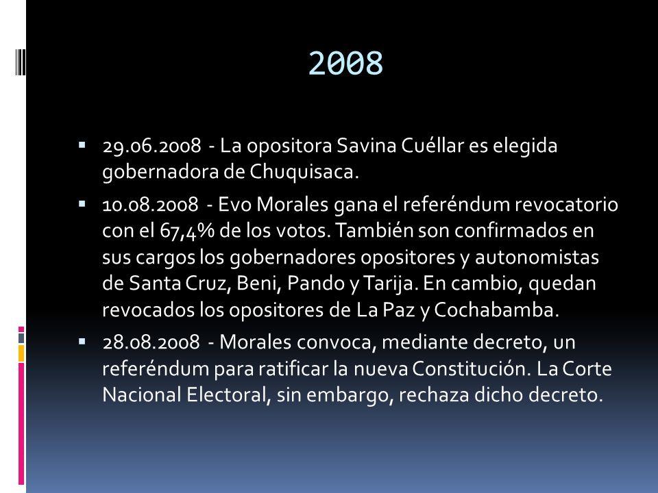 2008 29.06.2008 - La opositora Savina Cuéllar es elegida gobernadora de Chuquisaca.