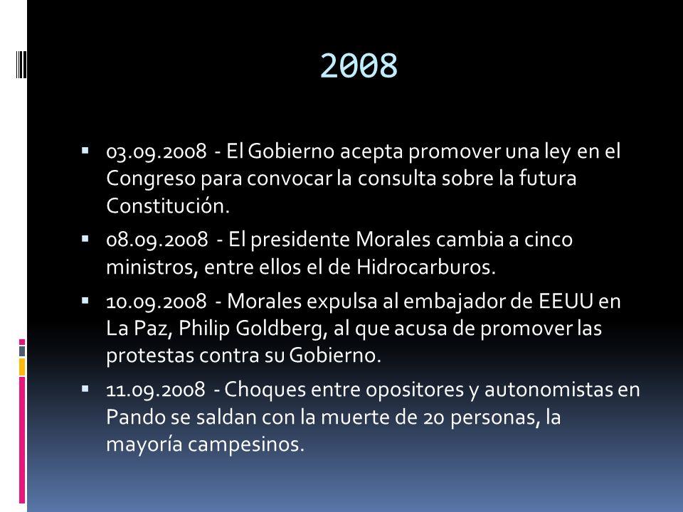 2008 03.09.2008 - El Gobierno acepta promover una ley en el Congreso para convocar la consulta sobre la futura Constitución.