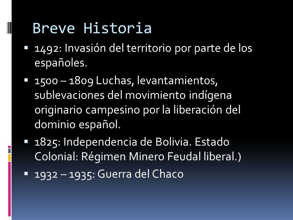 Breve Historia 1492: Invasión del territorio por parte de los españoles.