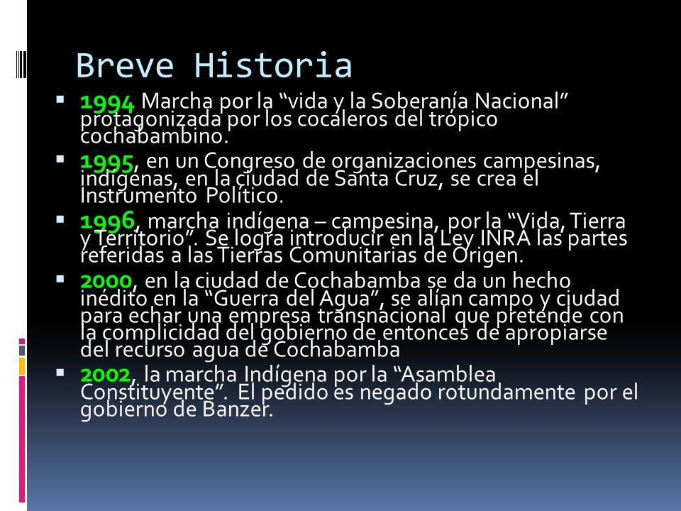 Breve Historia 1994 Marcha por la vida y la Soberanía Nacional protagonizada por los cocaleros del trópico cochabambino.