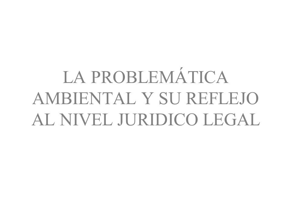 LA PROBLEMÁTICA AMBIENTAL Y SU REFLEJO AL NIVEL JURIDICO LEGAL