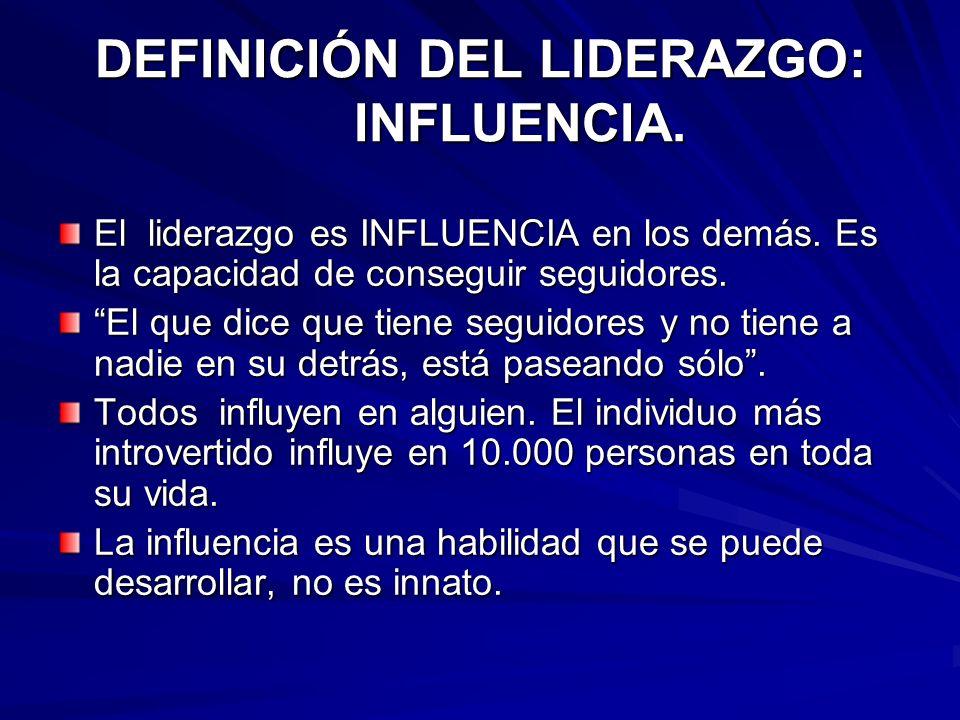 DEFINICIÓN DEL LIDERAZGO: INFLUENCIA.