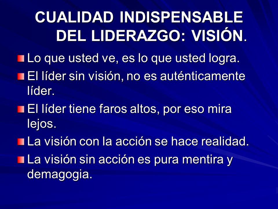 CUALIDAD INDISPENSABLE DEL LIDERAZGO: VISIÓN.