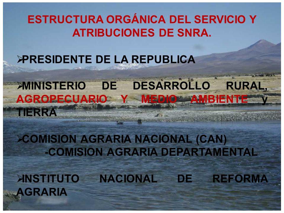 ESTRUCTURA ORGÁNICA DEL SERVICIO Y ATRIBUCIONES DE SNRA.