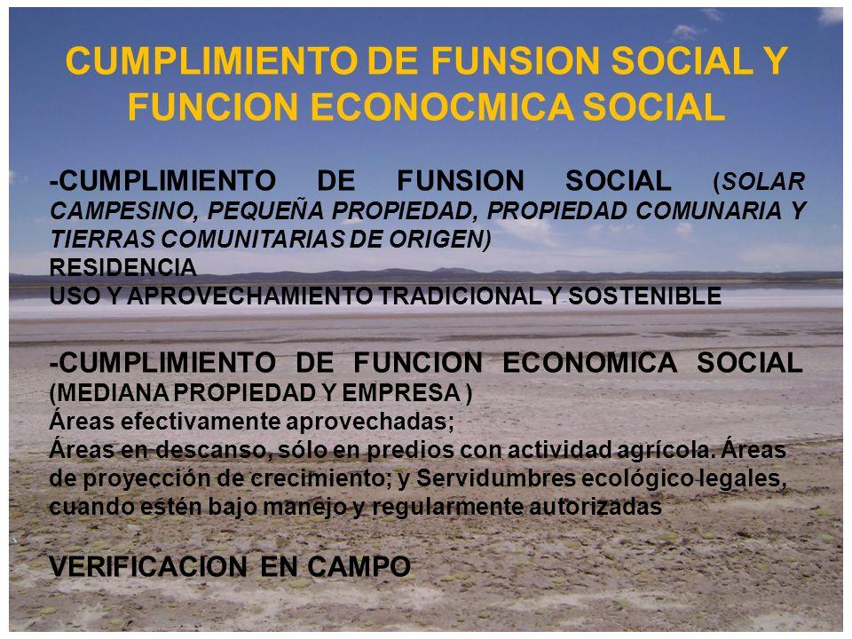 CUMPLIMIENTO DE FUNSION SOCIAL Y FUNCION ECONOCMICA SOCIAL