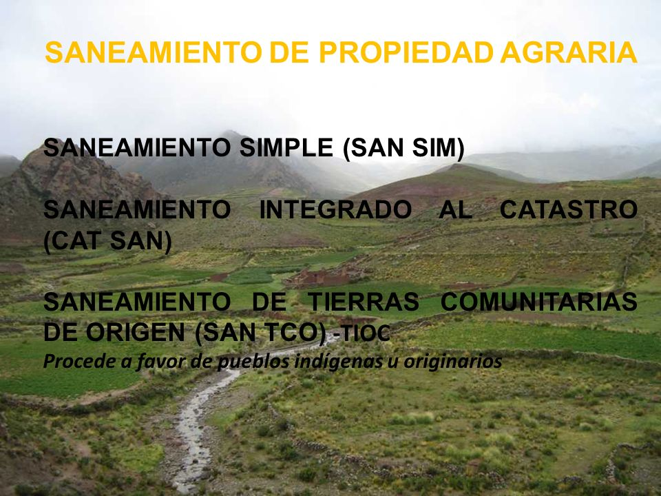 SANEAMIENTO DE PROPIEDAD AGRARIA