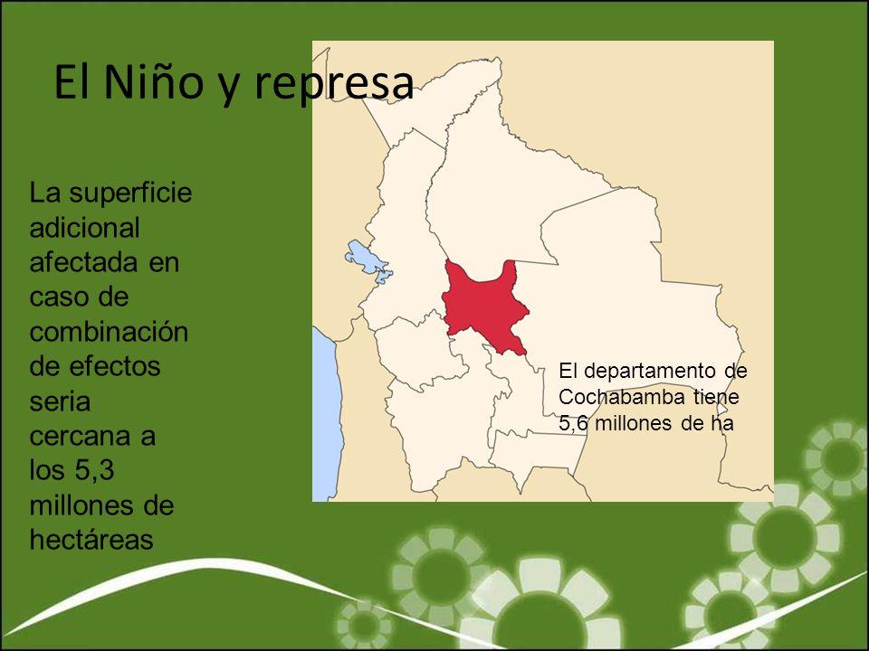 El Niño y represa La superficie adicional afectada en caso de combinación de efectos seria cercana a los 5,3 millones de hectáreas.
