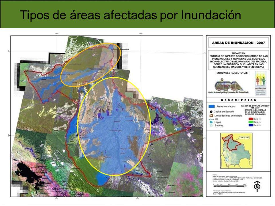Tipos de áreas afectadas por Inundación