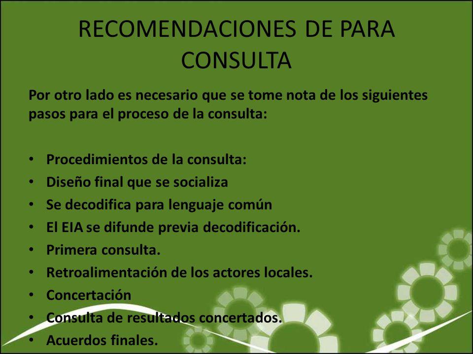 RECOMENDACIONES DE PARA CONSULTA