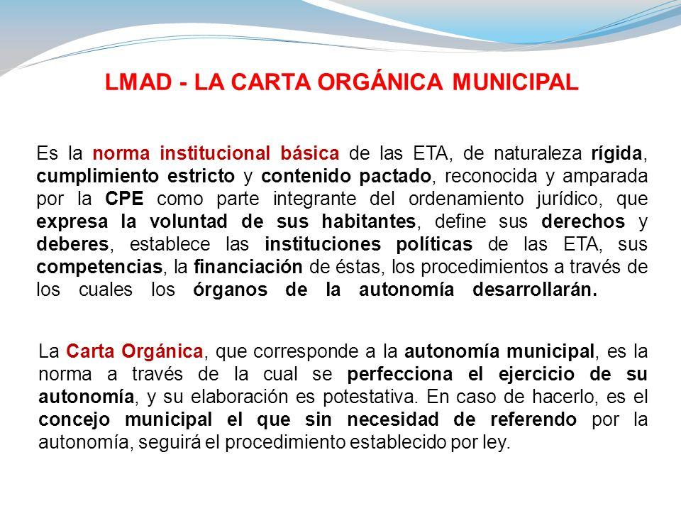 LMAD - LA CARTA ORGÁNICA MUNICIPAL