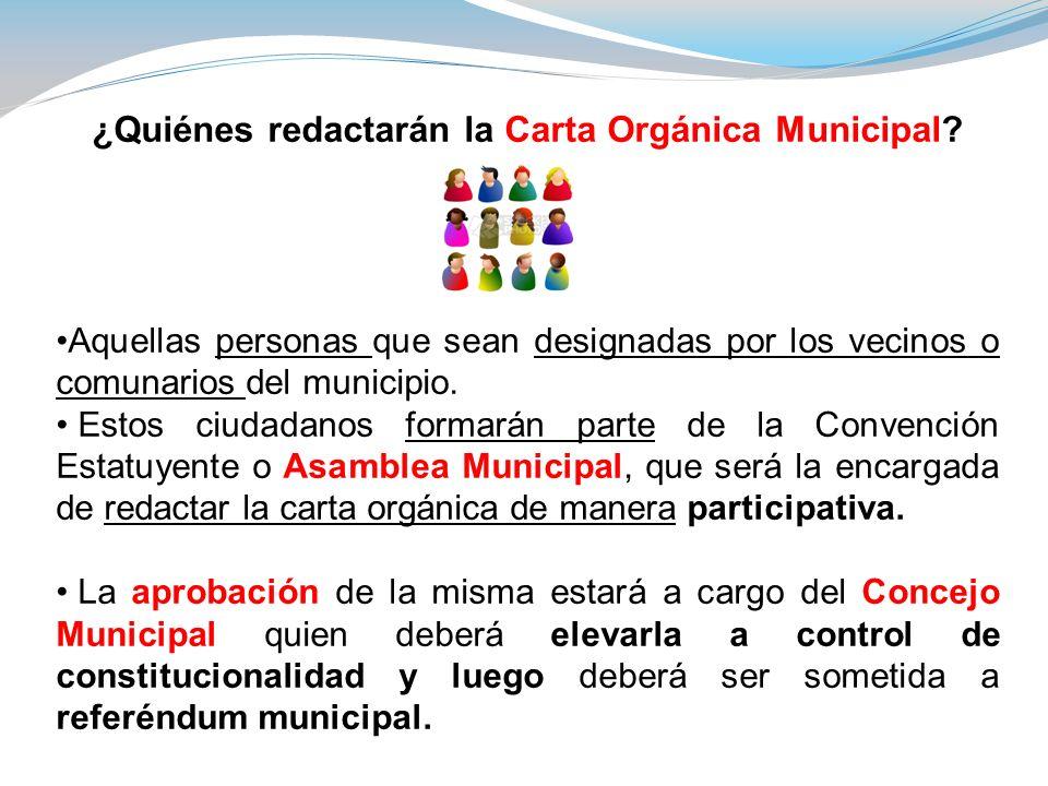 ¿Quiénes redactarán la Carta Orgánica Municipal