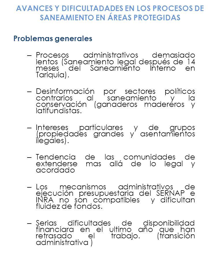 AVANCES Y DIFICULTADADES EN LOS PROCESOS DE SANEAMIENTO EN ÁREAS PROTEGIDAS