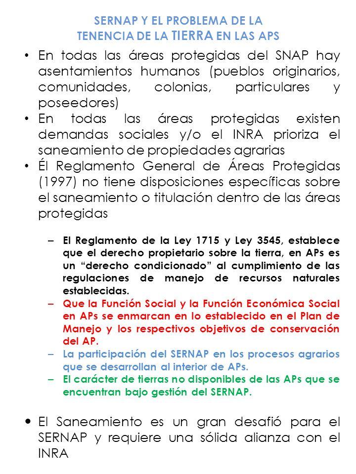 SERNAP Y EL PROBLEMA DE LA TENENCIA DE LA TIERRA EN LAS APS