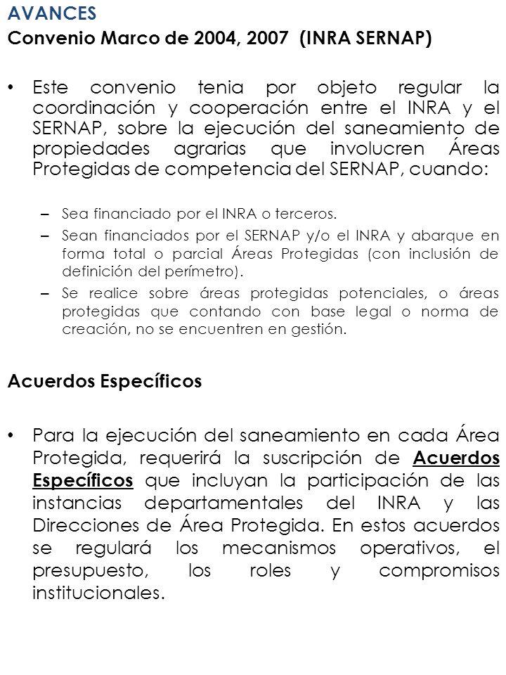 Convenio Marco de 2004, 2007 (INRA SERNAP)
