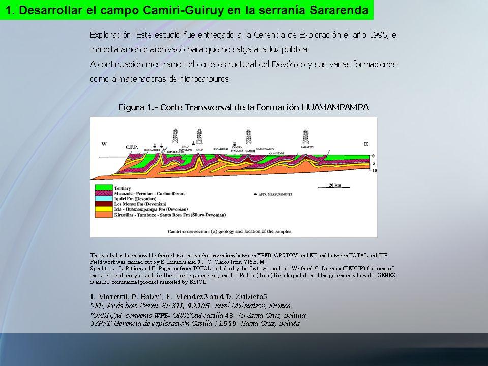 1. Desarrollar el campo Camiri-Guiruy en la serranía Sararenda