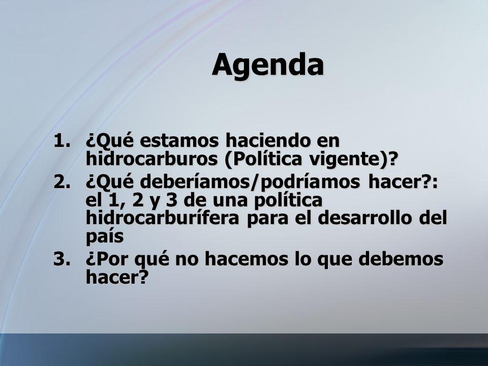 Agenda ¿Qué estamos haciendo en hidrocarburos (Política vigente)